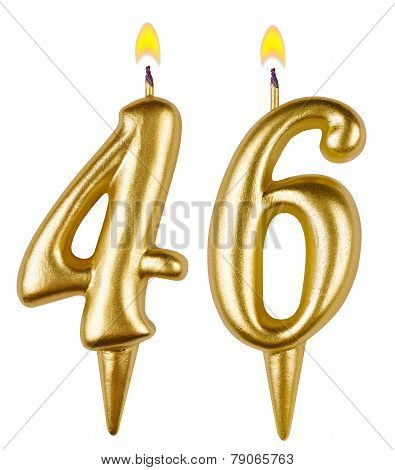 Birthday candles number forty six isolated on white background poster