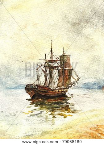 Watercolor Old Ship