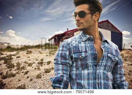 Handsome Fashionable Man Outdoor In Sunglasses