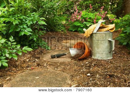 Closeup Of Tools On The Forest Path Set Up And Ready To Garden