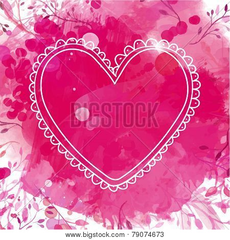White hand drawn heart frame. Artistic pink watercolor splash background with leaves. Creative desig