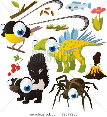 Vector set of isolated cute animals: bird of paradise, dinosaur, skunk, spider