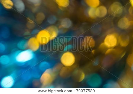 Vague Abstraction With Yellow, Golden Spots On A Blue Background