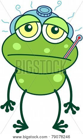 Green frog feeling sick