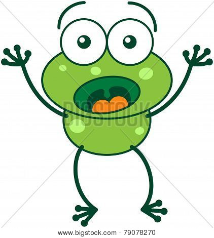 Green frog looking surprised and scared