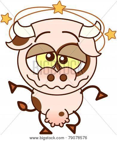 Cute cow feeling dizzy
