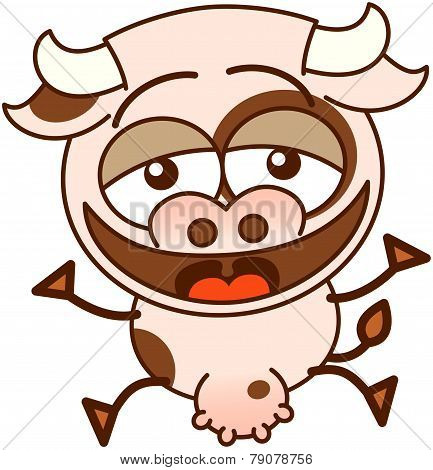 Cute cow laughing enthusiastically