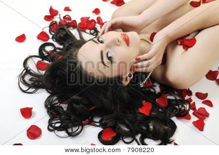 beautiful young nude woman with roses isolated on white representing beauty concept poster