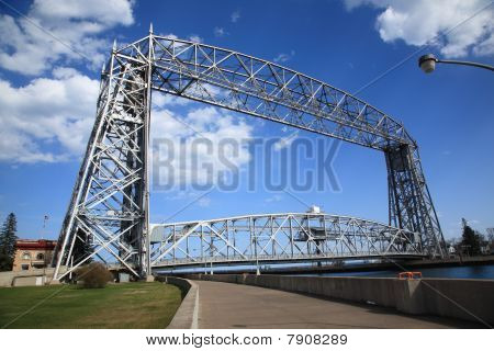 Minnesota landmark in port city is a vertical lift bridge poster