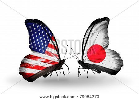 Two Butterflies With Flags On Wings As Symbol Of Relations Usa And Japan