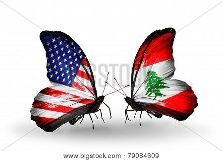 Two Butterflies With Flags On Wings As Symbol Of Relations Usa And Lebanon