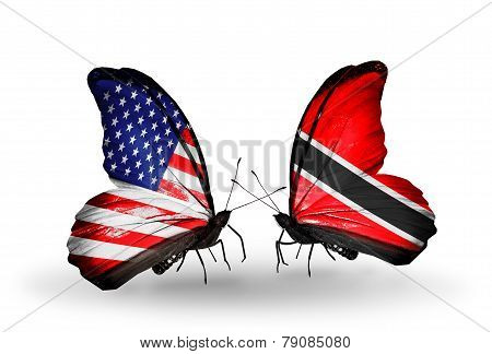 Two Butterflies With Flags On Wings As Symbol Of Relations Usa And Trinidad And Tobago