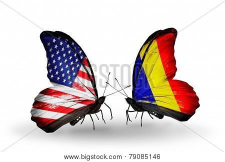 Two Butterflies With Flags On Wings As Symbol Of Relations Usa And Chad, Romania