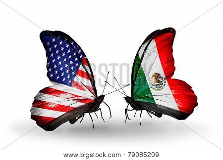 Two Butterflies With Flags On Wings As Symbol Of Relations Usa And Mexico
