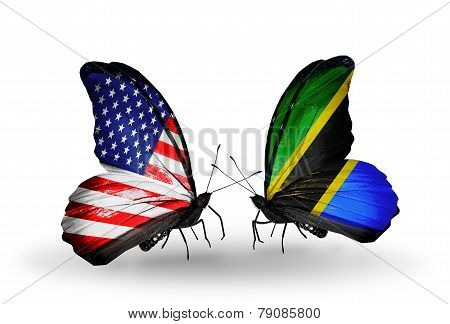 Two Butterflies With Flags On Wings As Symbol Of Relations Usa And Tanzania