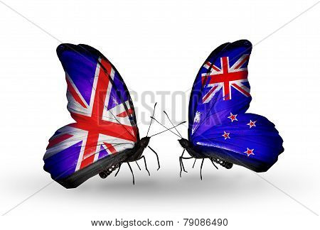 Two Butterflies With Flags On Wings As Symbol Of Relations Uk And New Zealand