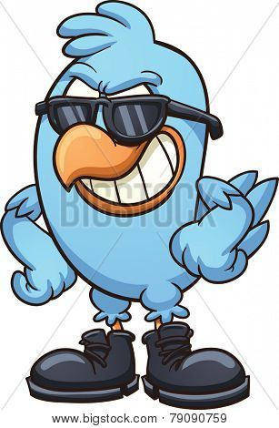 Smug cartoon blue bird wearing shades and boots. Vector clip art illustration with simple gradients. All in a single layer poster