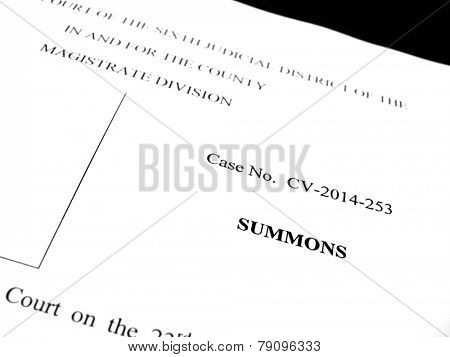 Detail of legal papers a notice of lawsuit summons