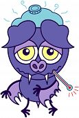 Purple bat in minimalistic style with sad bulging eyes, sharp fangs and short wings while having a thermometer in its mouth, a pack ice above its head and feeling sick poster