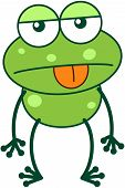 Cute green frog with bulging eyes and long legs while sticking its tongue out and showing a worrying apathetic attitude vector poster