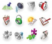 A set of silver steel or aluminium shiny glossy metal metallic internet application icon set series. poster