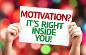 Motivation? Its Right Inside You! card with colorful background with defocused lights poster