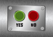 Yes no red and green buttons with brushed silver metal background poster