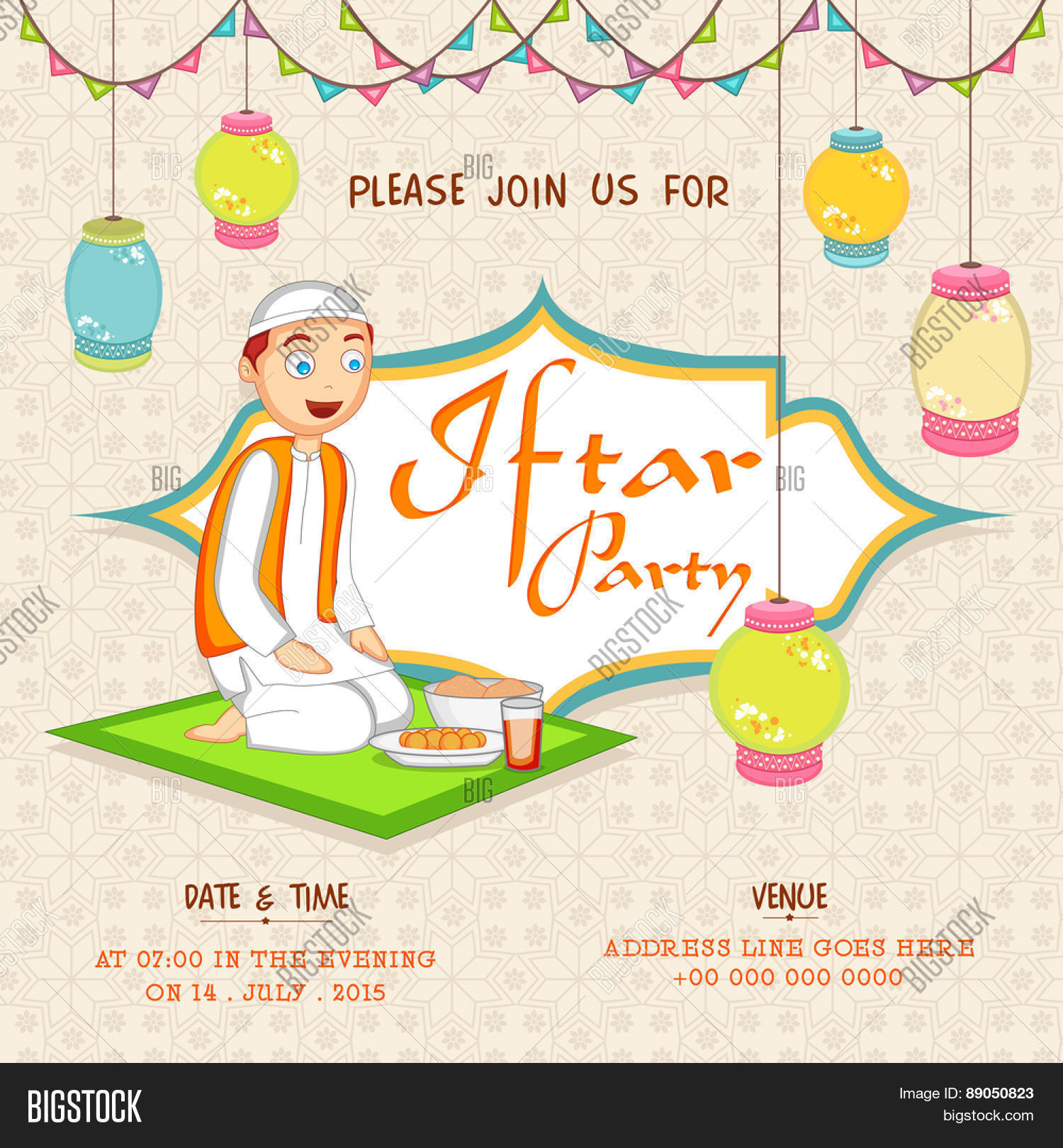 Islamic holy month prayers vector photo bigstock islamic holy month of prayers ramadan kareem iftar party celebration invitation card decorated with hanging stopboris Images