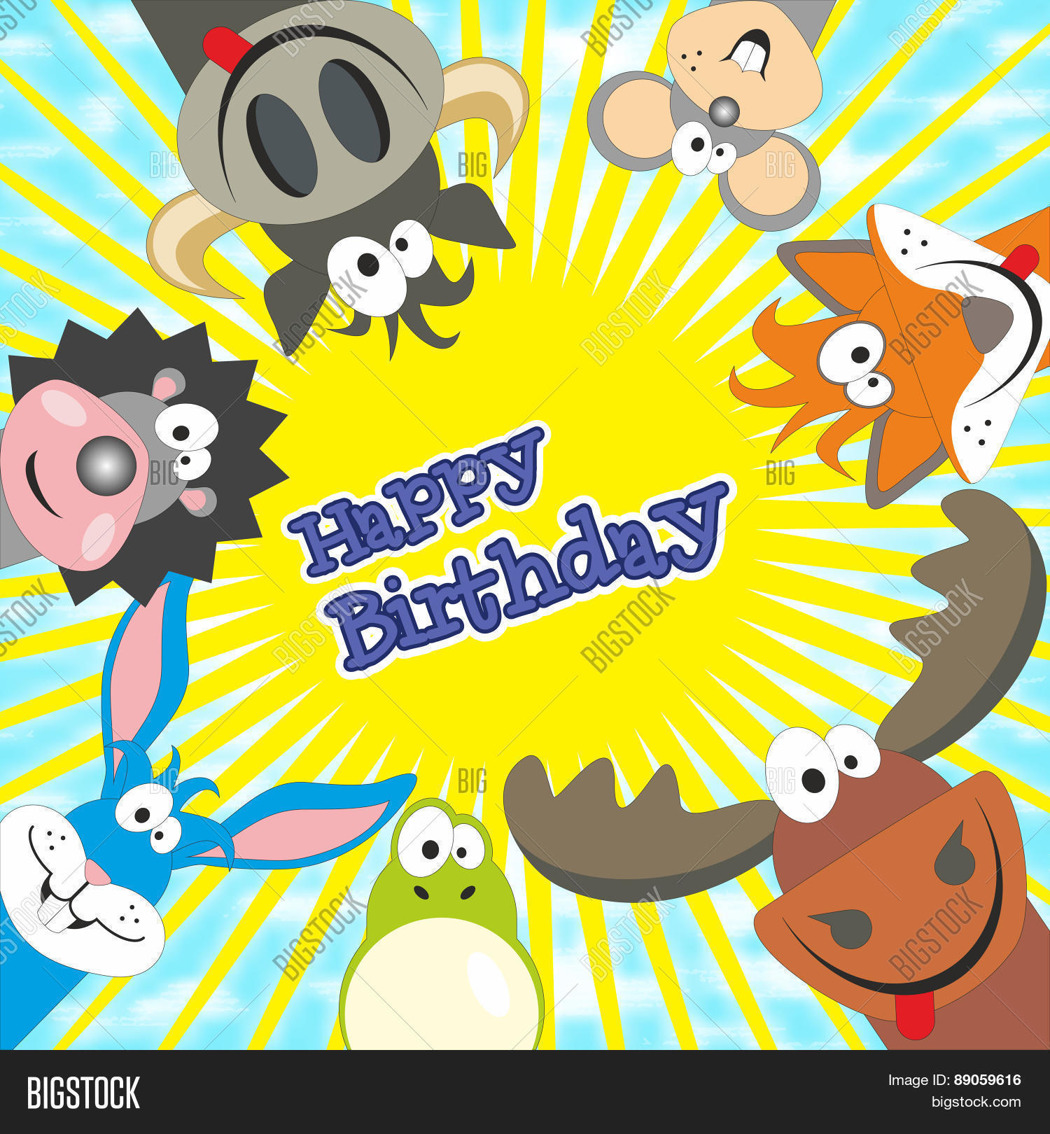Cute Happy Birthday Card With Funny Animals Elk Cow Hedgehog Little Mouse