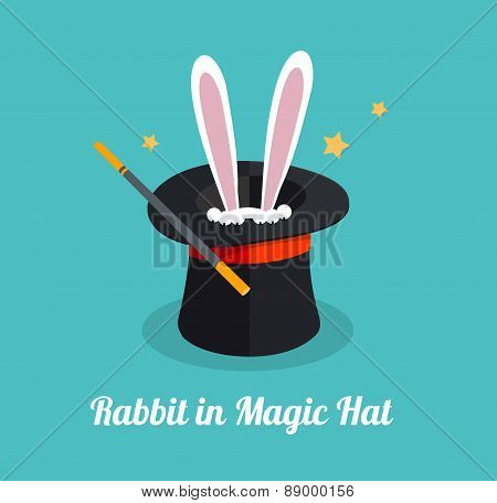 Vector rabbit in magic hat