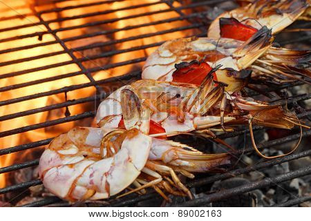 Skewered Big Shrimps On The Hot Bbq Grill