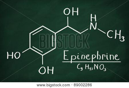 Chemical formula of Epinephrine on a blackboard poster