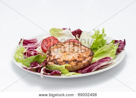 Chicken Burger Over Salad
