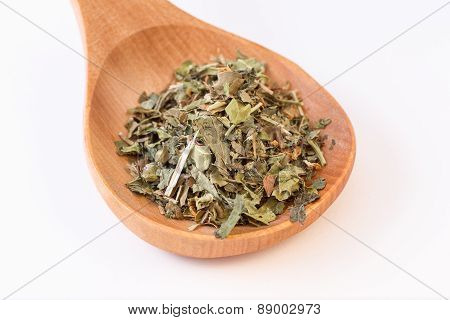 Infusion Leaves In Wooden Spoon