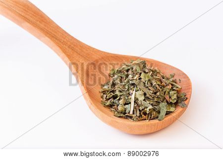 Infusion Leaves In Wooden Spoon - Spoon Diagonally