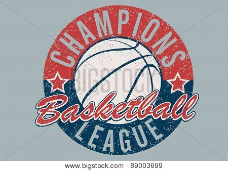 Basketball Champions League Distressed Print