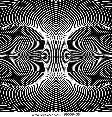 Design monochrome movement illusion background. Abstract striped distortion geometric backdrop. Vector-art illustration. No gradient poster
