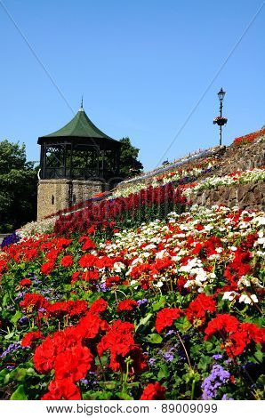 Flowerbeds and bandstand, Tamworth.