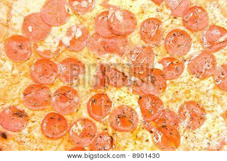 Delicious warm pepperoni pizza close up . poster