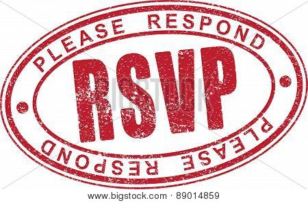 RSVP - the aged, shabby, rubber stamp. Vector illustration for your design.