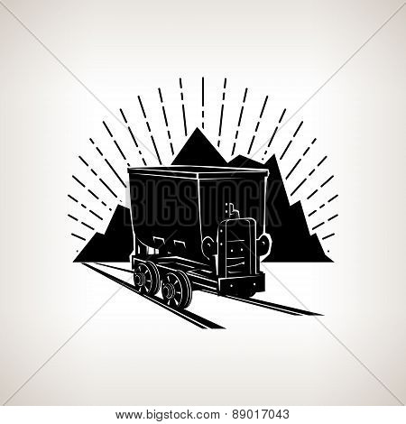 Silhouette Coal Mine Trolley