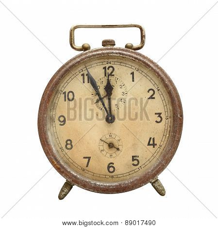 Old, retro alarm clock isolated on white. poster
