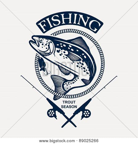 Vintage trout fishing emblems, labels and design elements