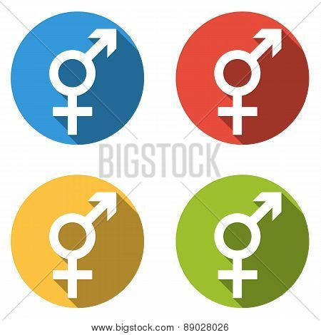 Collection Of 4 Isolated Flat Colorful Buttons (icons) For Intersex