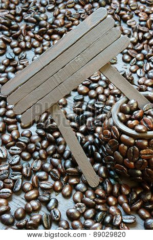 Coffee Bean, Wooden Background, Brown Cafe Bean