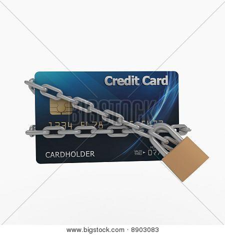 3D Kreditkarte mit Ketten und Pad-Lock