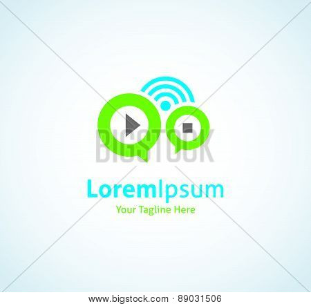 Music radio web button playlist vector logo icon
