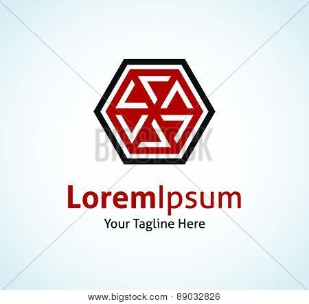 Abstract amulet badge of future hexagon shape vector logo icon