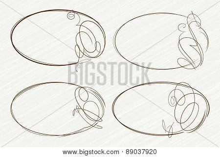 Set of 4 oval frames for your design. Vector illustration.