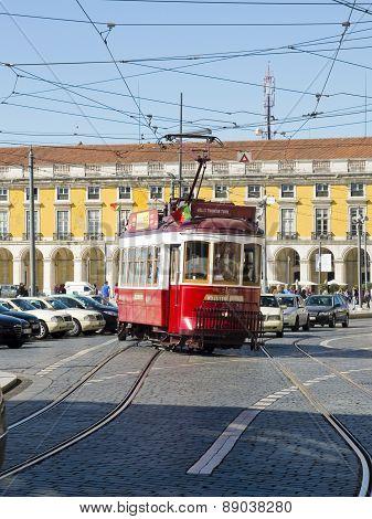 Lisbon Tram In Praca Do Comercio District, Lisbon.